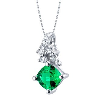Simulated Emerald Sterling Silver Flair Pendant Necklace - Green