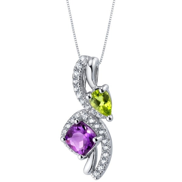 0aafd0e81 Shop Amethyst and Peridot Sterling Silver Ellipse Pendant Necklace - Purple  - On Sale - Free Shipping Today - Overstock - 20878575