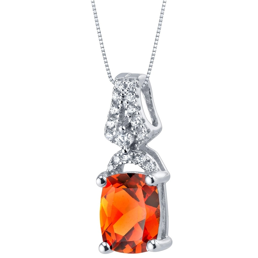Created Padparadscha Sapphire Halo Pendant Necklace Sterling Silver 3.50 Carats