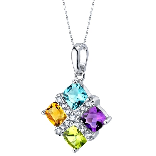 Sterling Silver Amethyst Jewelry & Watches Peridot & CZ heart Pendant Necklace 18 Chain