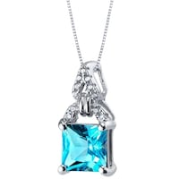 d25bdca443be18 Shop Sterling Silver Snowflake Pendant Necklace with Swiss Blue and ...