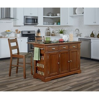OSP Home Furnishings Vintage Oak Kitchen Island with Granite Inlay Top and Two Matching Stools