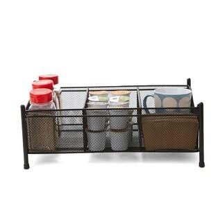 Mind Reader 3 Compartment Metal Mesh Storage Baskets Organizer, Home, Office, Kitchen, Bathroom, Black
