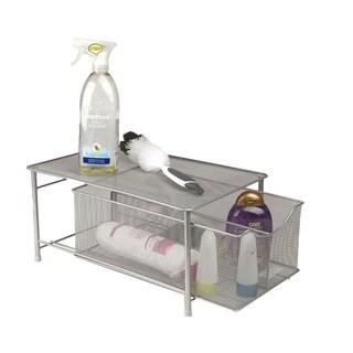 Mind Reader Storage Basket with Sliding Drawer and Steel Mesh Platform On Top, Silver
