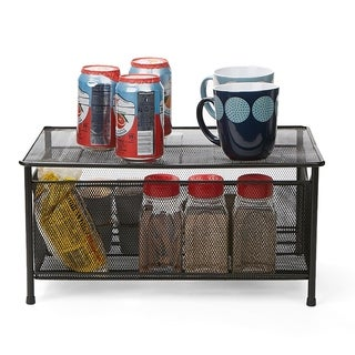 Mind Reader Storage Basket with Sliding Drawer and Steel Mesh Platform On Top, Black