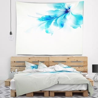 Designart 'Tender Blue Abstract Flowers' Floral Wall Tapestry