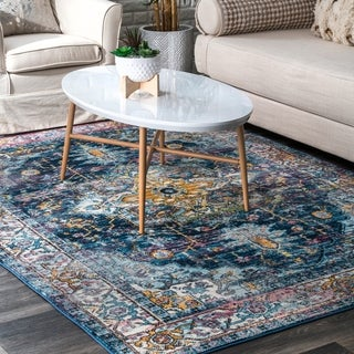 nuLOOM Blue Cameo Classical Styling Ornate Area Rug - 4' x 6'