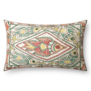 Embroidered Green/ Multi Fish 13 x 21 Throw Pillow or Pillow Cover