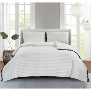 Piper Cotton Quilt Set in Off White