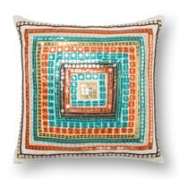 Bohemian Blue/ Rust Sequin 18-inch Throw Pillow or Pillow Cover
