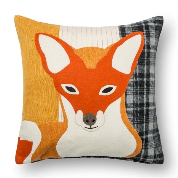 Shop Fox Applique Rust Grey 18 Inch Throw Pillow Or