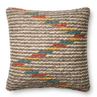 Woven Wool/ Cotton Grey/ Multi Zigzag 22-inch Throw Pillow or Pillow Cover