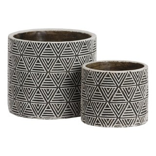 UTC55205: Cement Round Pot with Black Surface and Embossed Lattice Triangle Design Body Set of Two Painted Finish White