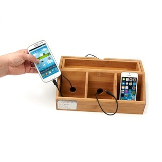 Mind Reader 3 Component Bamboo Charging Station and Desk Organizer, Brown