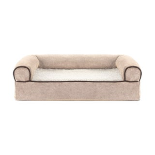 FurHaven Faux Fleece & Chenille Soft Woven Cooling Gel Top Sofa Pet Bed (More options available)