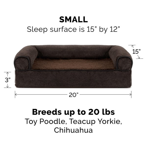 FurHaven Pet Bed | Faux Fleece & Chenille Soft Woven Cooling Gel Top Sofa Dog Bed