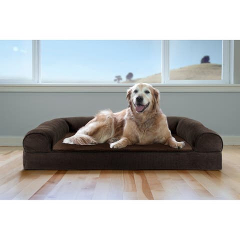 FurHaven Pet Bed Faux Fleece & Chenille Soft Woven Cooling Gel Top Sofa Dog Bed