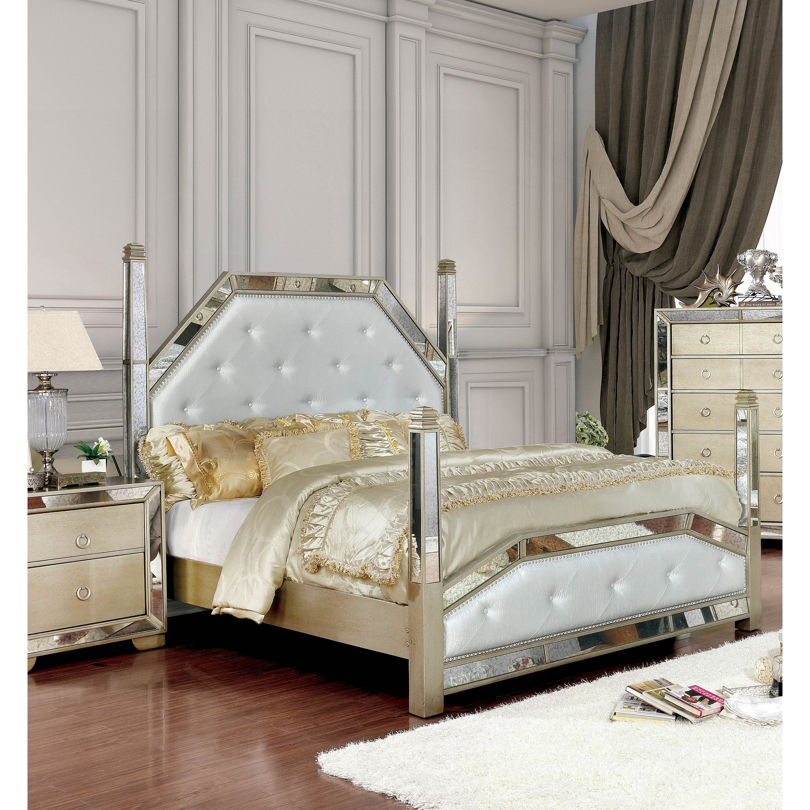 Furniture Of America Gevi Glam Silver Faux Leather 4 Poster Bed Overstock 20879207