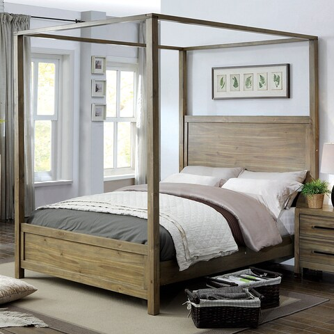Furniture of America Holstead I Rustic Light Oak Wooden Canopy Bed