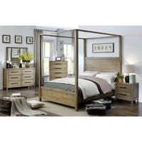 Furniture of America Holstead Rustic Light Oak Wooden Canopy Bed