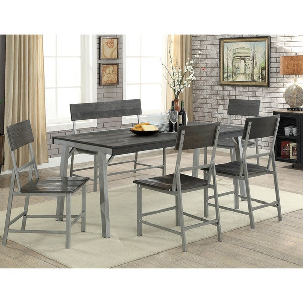 Furniture Of America Adams 70 Inch Metal Dining Table Silver