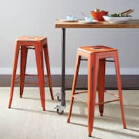 """OSP Home Furnishings Bristow 26"""" Antique Metal Barstools (Set of 2)"""