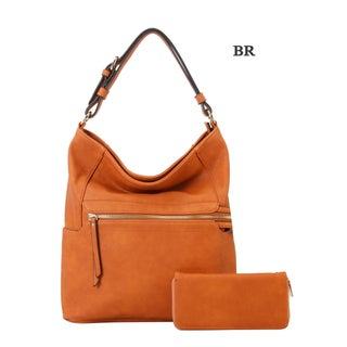 Diophy Front Zipper Pocket Hobo with Matching Wallet 2Pcs Set (More options available)