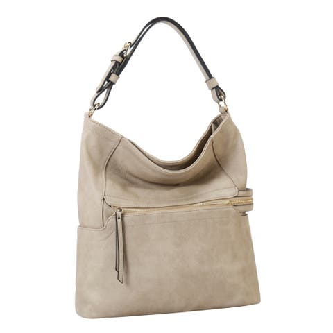 Diophy Front Zipper Pocket Hobo with Matching Wallet 2Pcs Set