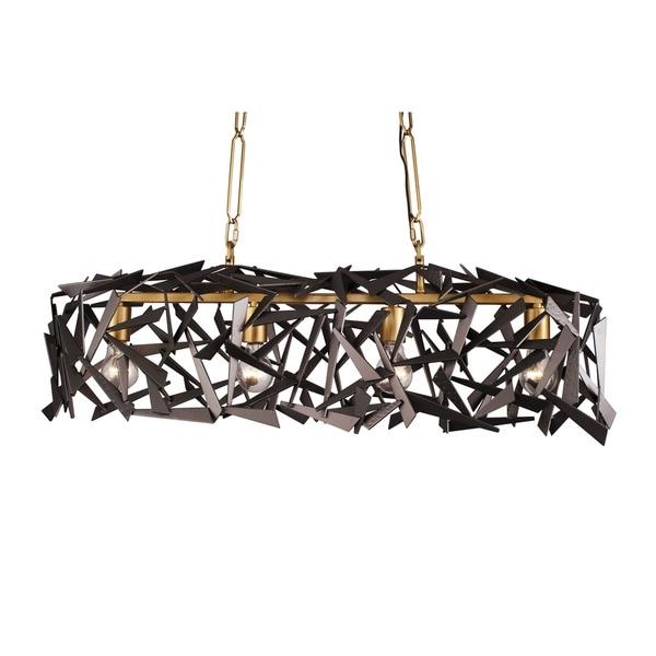 Varaluz Bermuda 4-light Antique Gold/ Rustic Bronze Linear Pendant