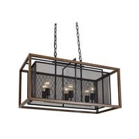 Varaluz Rio Lobo 6-light Dark Oak/ Black Linear Pendant