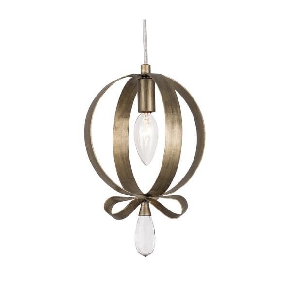 Varaluz Posh 1-light Havana Gold Round Mini Pendant