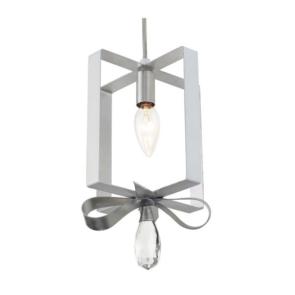 Varaluz Posh 1-light Pearl/ Silver Leaf Square Mini Pendant