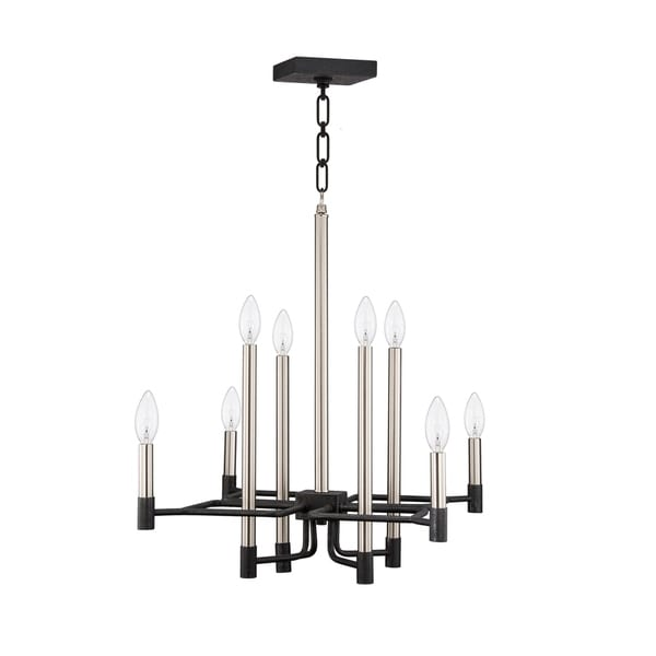 shop varaluz to circuit with love 8-light textured black   brushed nickel chandelier