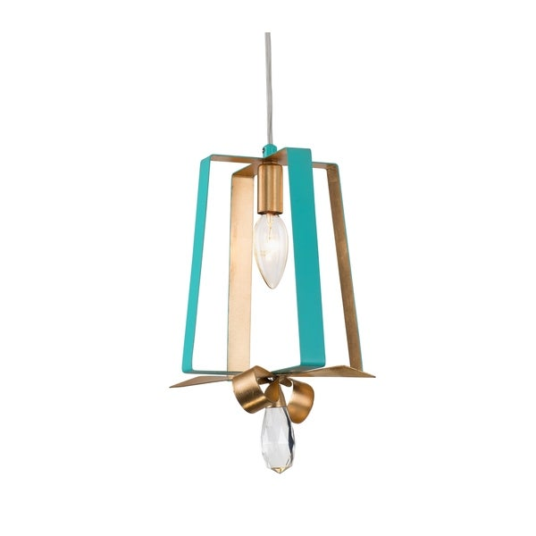 Varaluz Posh 1-light Aqua/ Gold Leaf Tall Mini Pendant