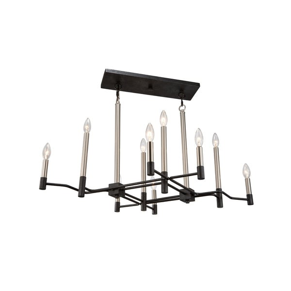 Varaluz To Circuit with Love 10-light Textured Black/ Brushed Nickel Linear Pendant