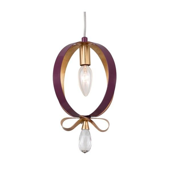 Varaluz Posh 1-light Plum/ Gold Leaf Round Mini Pendant
