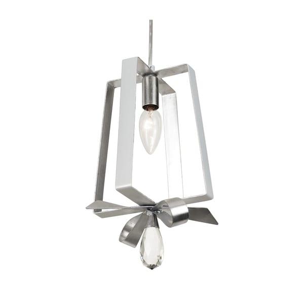 Varaluz Posh 1-light Pearl/ Silver Leaf Tall Mini Pendant