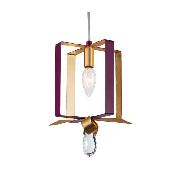 Varaluz Posh 1-light Plum/ Gold Leaf Square Mini Pendant