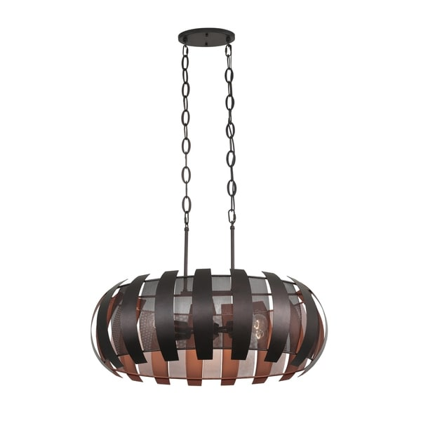 Varaluz Sawyers Bar 6-light Two-Tone Copper Ore Linear Pendant