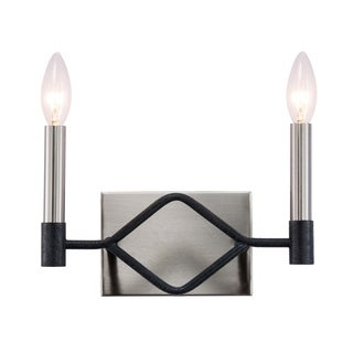 Varaluz To Circuit with Love 2-light Textured Black/ Brushed Nickel Bath Fixture