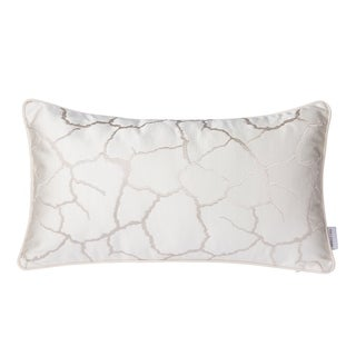 White and Silver Lumbar Throw Pillow