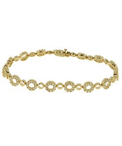 Icz Stonez 18k Gold over Sterling Silver CZ Circle Bracelet