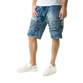 Stitches & Rivets Men's Creased Dark Blue Denim Short With Moto Thigh