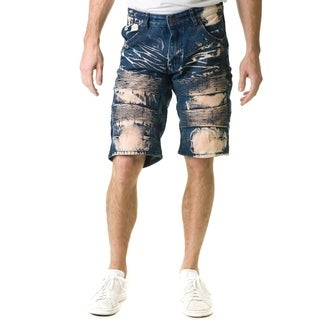 Stitches & Rivets Men's Dark Blue Denim Shorts With Moto Thigh
