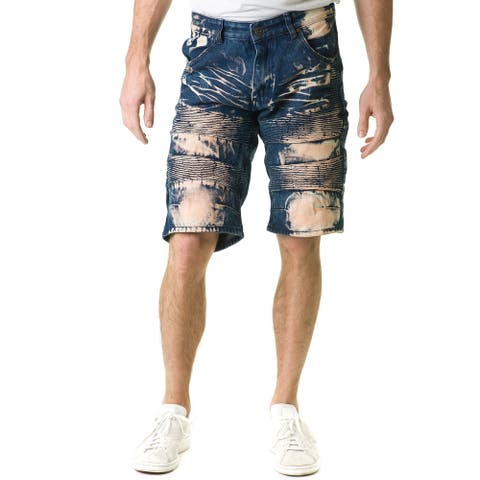 Stitches & Rivets Men's Dark Blue Denim Shorts With Moto Thigh