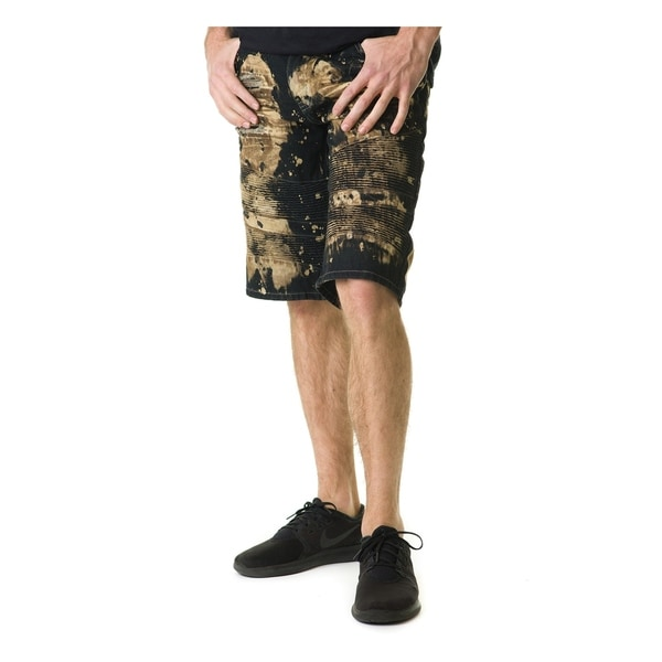 Stitches & Rivets Mens Vintage Black Denim Shorts With Moto Thigh by  Best