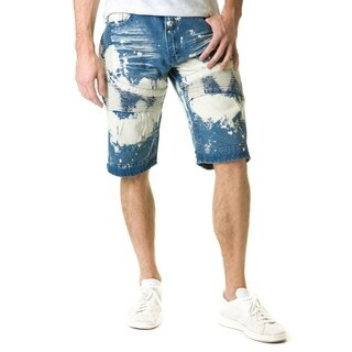 Stitches & Rivets Men's Medium Blue Denim Shorts With Moto Thigh