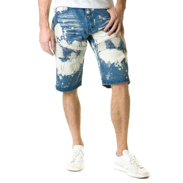 Stitches & Rivets Mens Medium Blue Denim Shorts with Moto Thigh