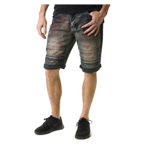 Stitches & Rivets Men's Urban Black Paneled Denim Shorts