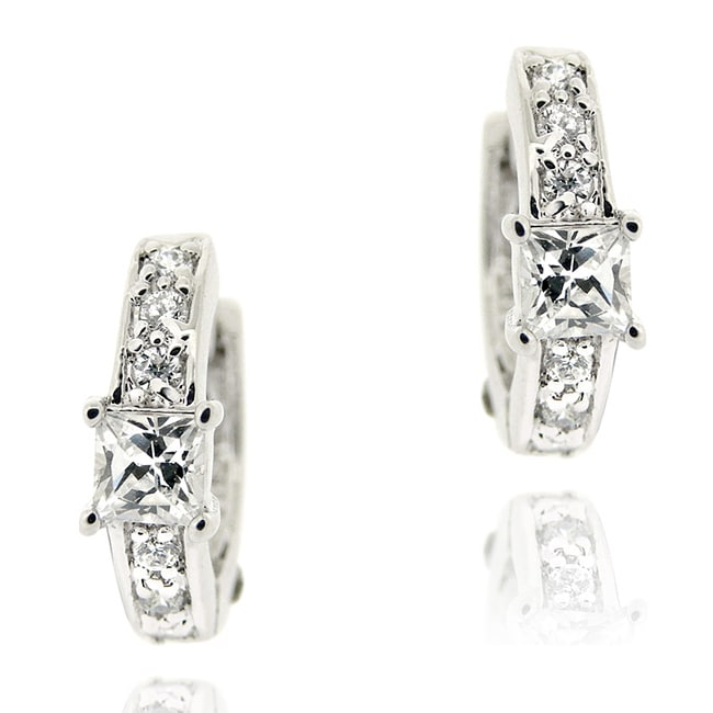 Icz Stonez Sterling Silver Mini Cubic Zirconia Hoop Earrings